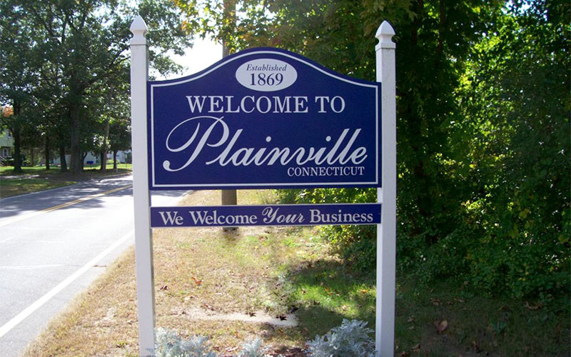 Plainville, CT - welcome sign